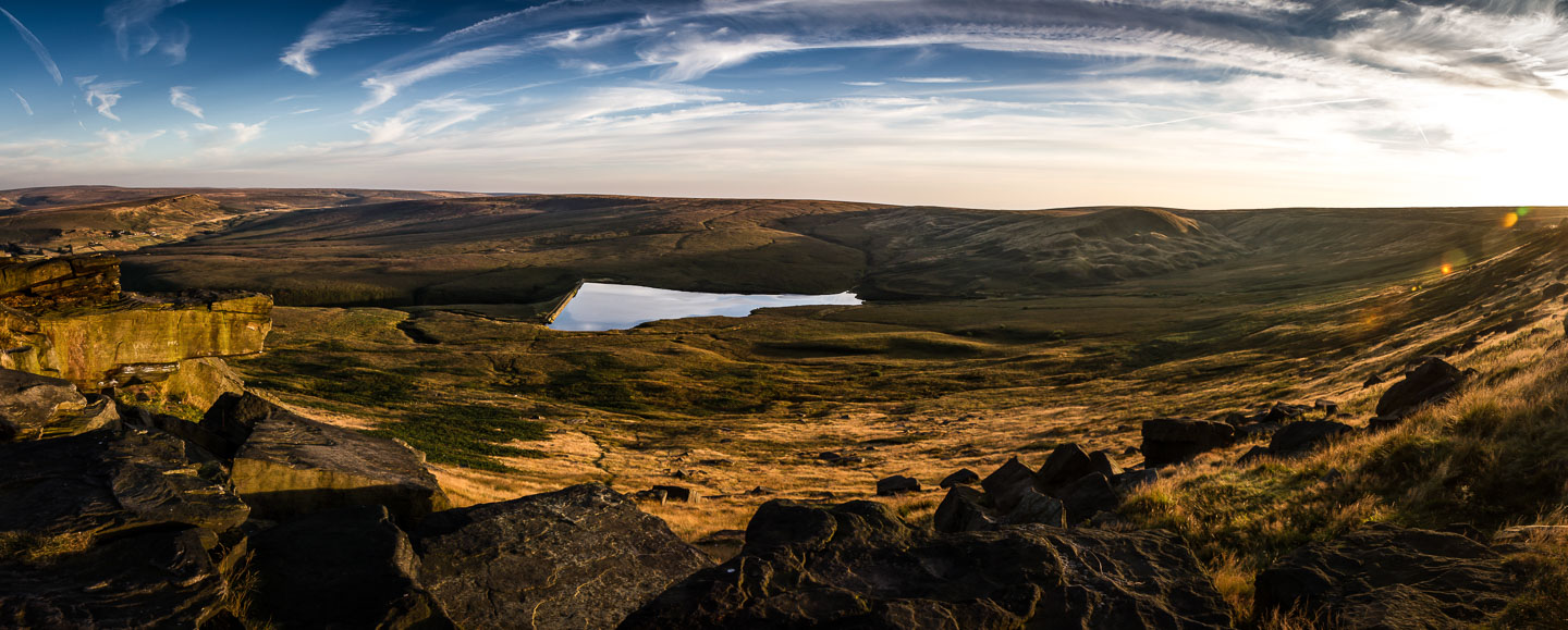 A panoramic view of Buckstones in Marsden Moor, including Pule Hill.